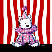 West Highland White Terrier Mixed Media - Circus Clown Westie II by Kim Niles