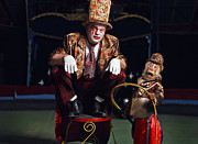Chimpanzee Digital Art Originals - Circus clown with a monkey. by Kireev Art