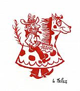 Linoleum Painting Prints - Circus Cowboy Print by Barry Nelles Art