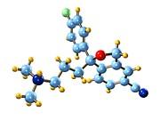 Citalopram Antidepressant Molecule Print by Dr Mark J. Winter