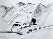 Jet Drawings Posters - Citation X  Poster by Nicholas Linehan