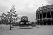 New York Baseball Parks Digital Art Framed Prints - CITI FIELD in BLACK AND WHITE Framed Print by Rob Hans