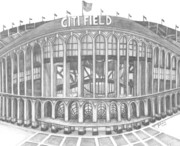Baseball Stadiums Drawings Prints - Citi Field Print by Juliana Dube
