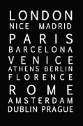 Typography Map Prints - Cities of Europe Print by Nomad Art And  Design