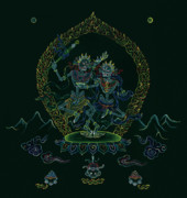 Tibetan Art Paintings - Citipati -The Lord and Lady of the Charnel Grounds by Carmen Mensink