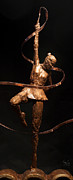 White Sculpture Prints - Citius Altius Fortius Olympic Art Gymnast over Black Print by Adam Long