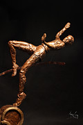 Bronze Sculpture Metal Prints - Citius Altius Fortius Olympic Art High Jumper on Black Metal Print by Adam Long