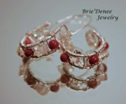 Woven Jewelry Originals - Citrine and Goldstone Hoop Earrings in Silver by Brittney Brownell