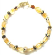Decorative Jewelry - Citrine with Brown Lamp Work Beads by Pat Stevens