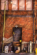 Garbage Photo Prints - City - Door - The back door  Print by Mike Savad