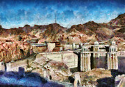 Hoover Prints - City - Nevada - Hoover Dam Print by Mike Savad