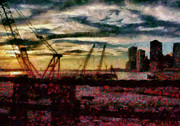 Cranes Framed Prints - City - NY - Overlooking the Hudson Framed Print by Mike Savad