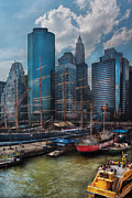 South Street Seaport Posters - City - NY - The New City Poster by Mike Savad