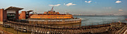 Ny Ny Posters - City - NY - The Staten Island Ferry - Panorama Poster by Mike Savad