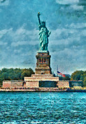 Ny Ny Posters - City - NY - The Statue of Liberty Poster by Mike Savad