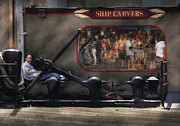 Seaport Photo Posters - City - NY South Street Seaport - Ship Carvers Poster by Mike Savad