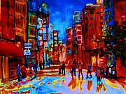 Crowds Painting Originals - City After The Rain by Carole Spandau