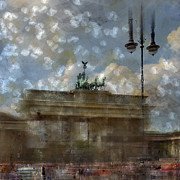 Brown Digital Art Posters - City-Art BERLIN Brandenburger Tor II Poster by Melanie Viola