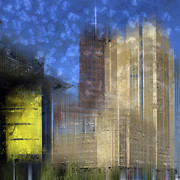 Painted Digital Art Prints - City-Art BERLIN Potsdamer Platz I Print by Melanie Viola