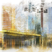 Contour Prints - City-Art BERLIN Potsdamer Platz Print by Melanie Viola
