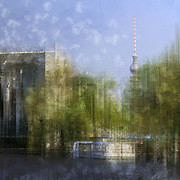 Square Digital Art - City-Art BERLIN River Spree by Melanie Viola