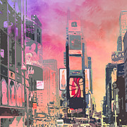 Red Digital Art Posters - City-Art NY Times Square Poster by Melanie Viola