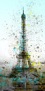 Painted Digital Art Prints - City-Art PARIS Eiffel Tower II Print by Melanie Viola