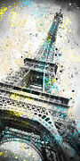 Yellow Digital Art Acrylic Prints - City-Art PARIS Eiffel Tower IV Acrylic Print by Melanie Viola