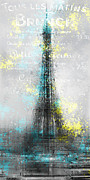 Cyan Digital Art Prints - City-Art PARIS Eiffel Tower LETTERS Print by Melanie Viola