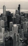 City At Dusk In Monotone Print by Sheryl Thomas
