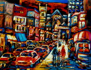 Snowy Night Painting Posters - City At Night Downtown Montreal Poster by Carole Spandau