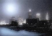 Winter Night Art - City Bathed In Winter by Kenneth Krolikowski
