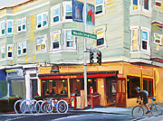 San Francisco Painting Metal Prints - City Bike at Polk and Washington Metal Print by Colleen Proppe