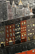 Robert Handler Prints - City Block After the Rain Print by Robert Handler
