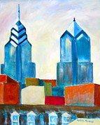 Philly Skyline Art - City Blocks by Marita McVeigh