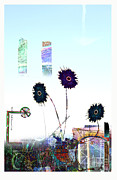 Cityscape Mixed Media Posters - City Blooms Poster by Andy  Mercer