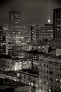 San Francisco Metal Prints - City Buildings And Rooftops At Night Metal Print by Topher Simon photography