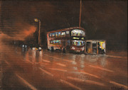 City Life Pastels Posters - City Bus Night 2 Poster by Paul Mitchell