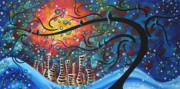 Landscape Artwork Paintings - City by the Sea by MADART by Megan Duncanson