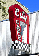 Red White And Blue Digital Art Prints - City Cafe Print by David Lee Thompson