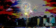 4th July Framed Prints - City Celebration digital Framed Print by Mark Moore