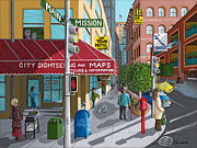 Store Fronts Posters - City Corner Poster by Katherine Young-Beck