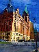 Hall Digital Art Prints - City Hall and Lamp post Print by Anita Burgermeister