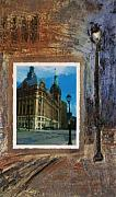 City Mixed Media Originals - City Hall and street lamp by Anita Burgermeister