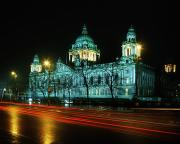 Lighted Street Prints - City Hall, Belfast, Ireland Print by The Irish Image Collection