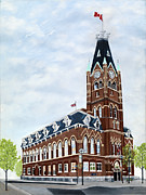 City Hall Painting Framed Prints - City Hall circa1873 Belleville Ontario Framed Print by Peggy Holcroft