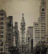 Broad Street Digital Art Posters - City Hall from North Broad Street Philadelphia Poster by Bill Cannon