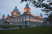 Wood Bench Prints - City Hall Illuminated Belfast, County Print by Peter Zoeller