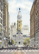 City Hall Painting Framed Prints - City Hall Philadelphia Framed Print by Keith Mountford