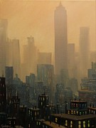 Skylines Paintings - City Haze by Tom Shropshire